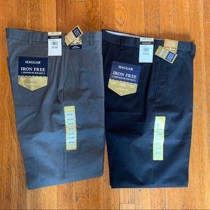 (2) Pairs Haggar Iron Free Classic Fit pants 34x32